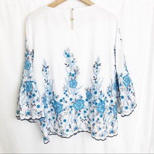 Calvin Klein Tops - Calvin Klein floral embroidered flared sleeve top